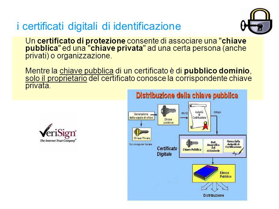 i certificati digitali di identificazione Un certificato di protezione consente di associare una chiave pubblica ed una chiave privata ad una certa persona (anche privati) o organizzazione.