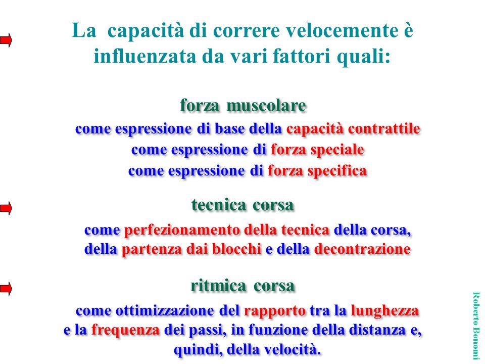 come espressione di base della capacità contrattile tecnica corsa ritmica corsa La capacità di correre velocemente è influenzata da vari fattori quali