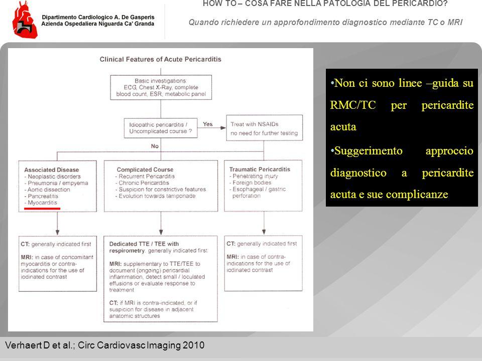 Data: Evento:Autore: Titolo: HOW TO – COSA FARE NELLA PATOLOGIA DEL PERICARDIO? Quando richiedere un approfondimento diagnostico mediante TC o MRI Non