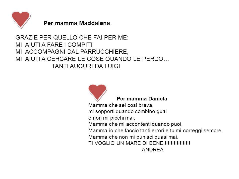 Per mamma Maddalena GRAZIE PER QUELLO CHE FAI PER ME: MI AIUTI A FARE I COMPITI MI ACCOMPAGNI DAL PARRUCCHIERE, MI AIUTI A CERCARE LE COSE QUANDO LE P