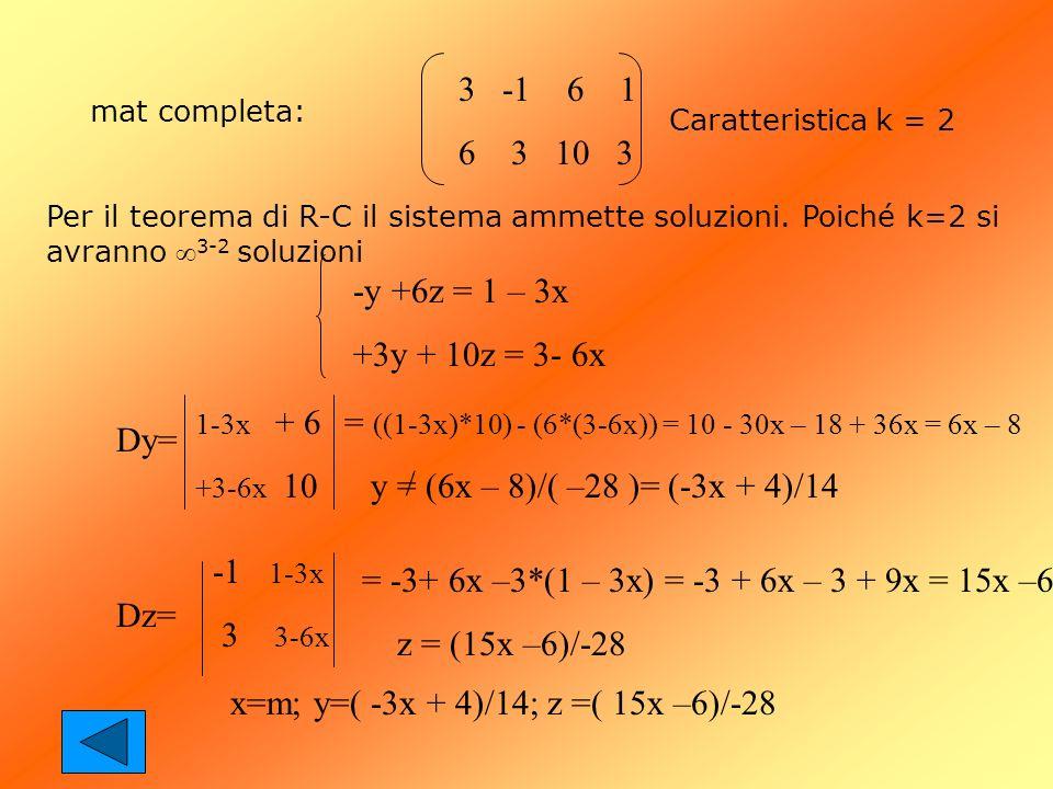 mat completa: 3 -1 6 1 6 3 10 3 Caratteristica k = 2 Per il teorema di R-C il sistema ammette soluzioni. Poiché k=2 si avranno 3-2 soluzioni -y +6z =