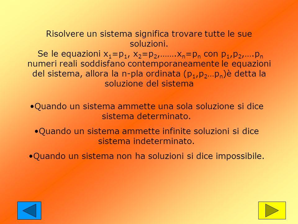 Risolvere un sistema significa trovare tutte le sue soluzioni. Se le equazioni x 1 =p 1, x 2 =p 2,…….x n =p n con p 1,p 2,….p n numeri reali soddisfan