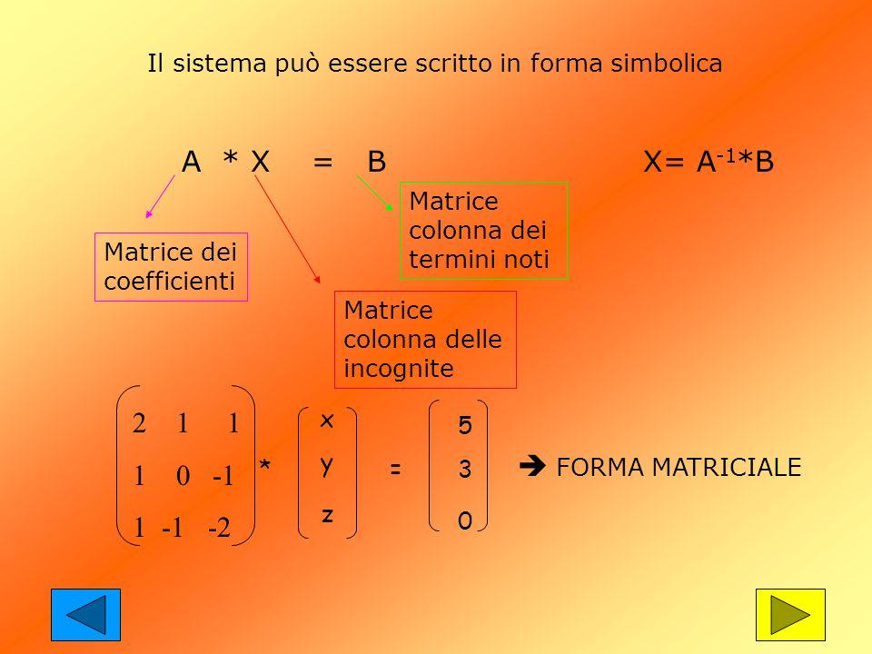 A * X = B Matrice dei coefficienti Matrice colonna delle incognite Matrice colonna dei termini noti 2 1 1 1 0 -1 1 -1 -2 * xyzxyz = 530530 FORMA MATRI