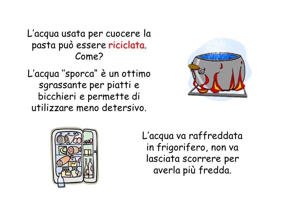 Lacqua usata per cuocere la pasta può essere riciclata riciclata. Come? Lacqua sporca è un ottimo sgrassante per piatti e bicchieri e permette di util