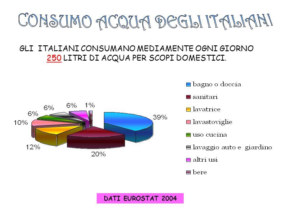 GLI ITALIANI CONSUMANO MEDIAMENTE OGNI GIORNO 250 250 LITRI DI ACQUA PER SCOPI DOMESTICI. DATI EUROSTAT 2004