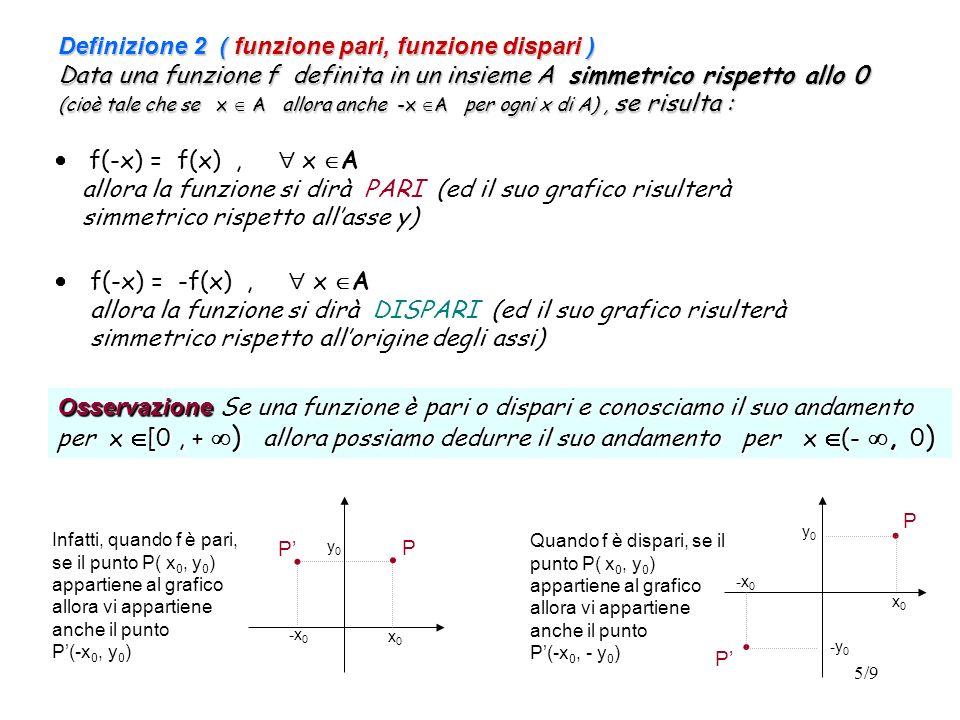 5/9 Definizione 2 ( funzione pari, funzione dispari ) Data una funzione f definita in un insieme A simmetrico rispetto allo 0 (cioè tale che se x A al
