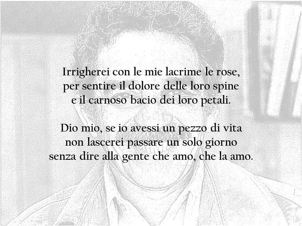 Irrigherei con le mie lacrime le rose, per sentire il dolore delle loro spine e il carnoso bacio dei loro petali. Dio mio, se io avessi un pezzo di vi
