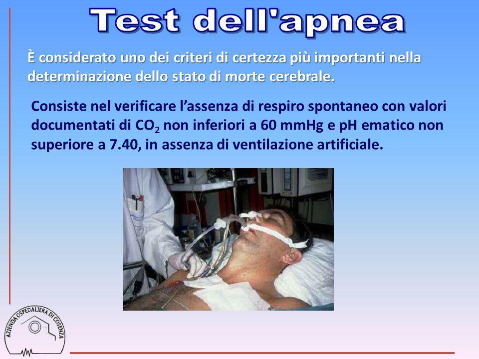 Consiste nel verificare lassenza di respiro spontaneo con valori documentati di CO 2 non inferiori a 60 mmHg e pH ematico non superiore a 7.40, in ass