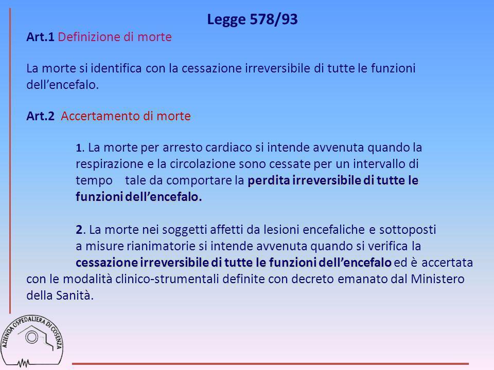 Legge 578/93 Art.1 Definizione di morte La morte si identifica con la cessazione irreversibile di tutte le funzioni dellencefalo. Art.2 Accertamento d
