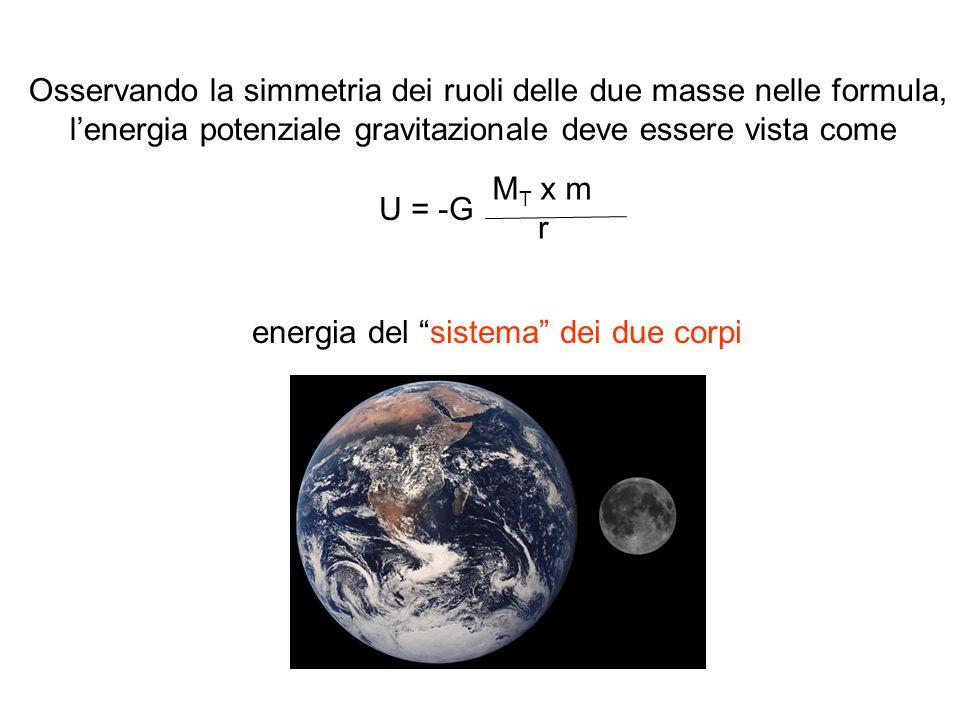 M T x m r U = -G Osservando la simmetria dei ruoli delle due masse nelle formula, lenergia potenziale gravitazionale deve essere vista come energia de