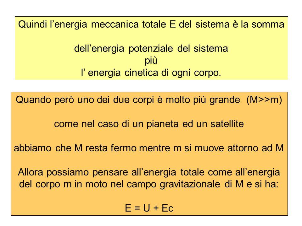 Quindi lenergia meccanica totale E del sistema è la somma dellenergia potenziale del sistema più l energia cinetica di ogni corpo. Quando però uno dei