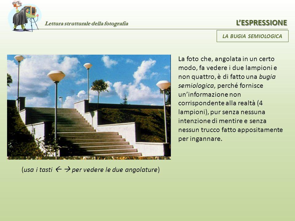 Lettura strutturale della fotografia LESPRESSIONE LA BUGIA SEMIOLOGICA È un particolare tipo di menzogna caratteristica del linguaggio fotografico; è
