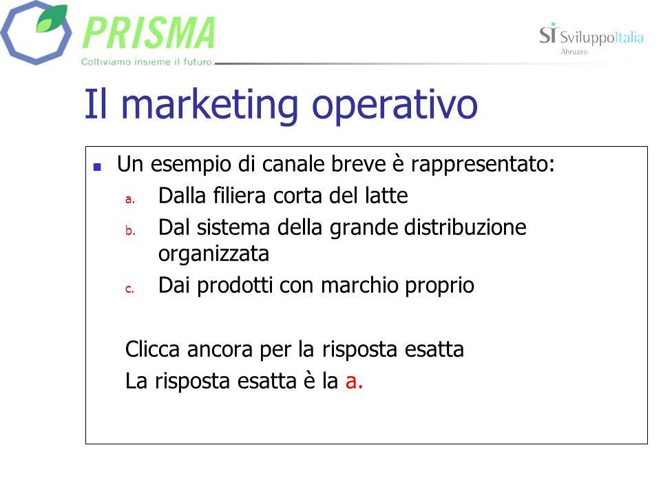 Il marketing operativo Un esempio di canale breve è rappresentato: a.