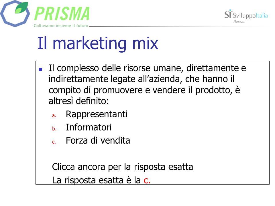Il marketing mix Il complesso delle risorse umane, direttamente e indirettamente legate allazienda, che hanno il compito di promuovere e vendere il prodotto, è altresì definito: a.