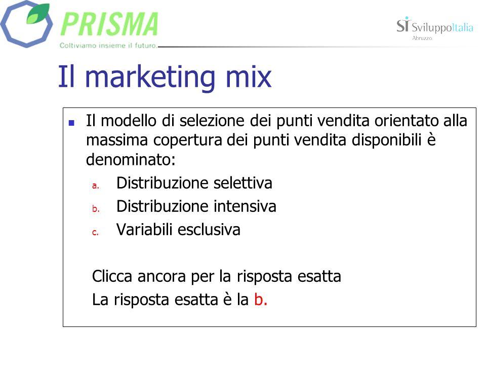 Il marketing mix Il modello di selezione dei punti vendita orientato alla massima copertura dei punti vendita disponibili è denominato: a.
