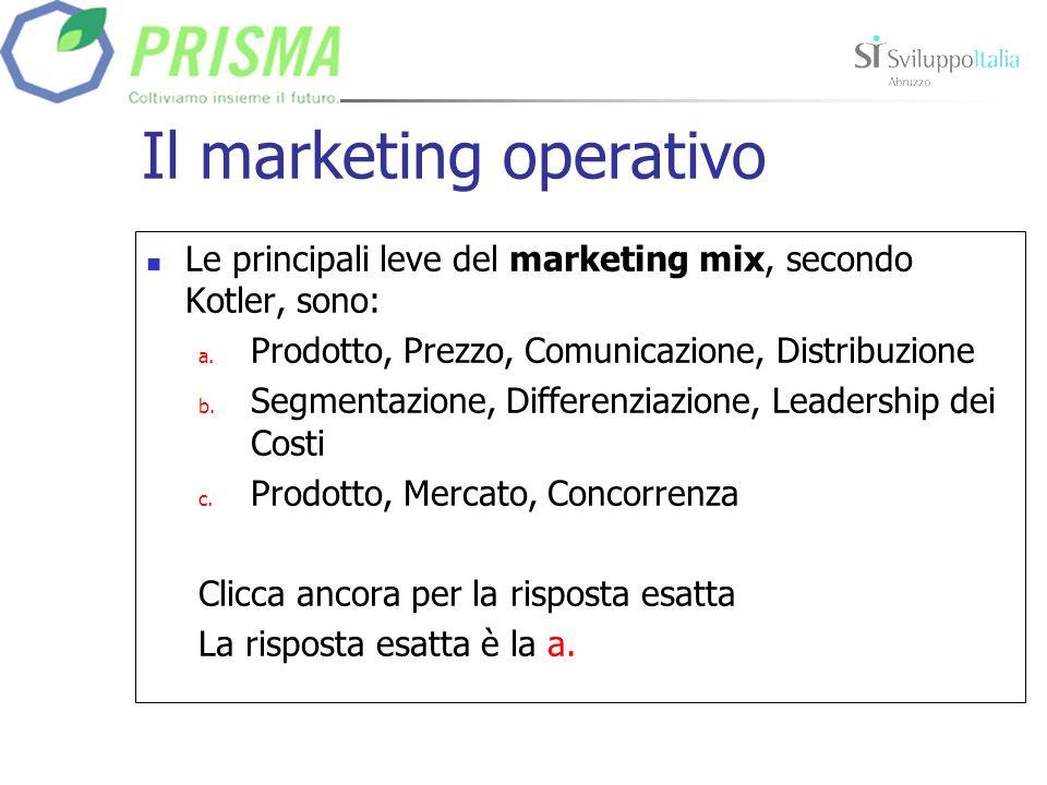 Il marketing operativo Le principali leve del marketing mix, secondo Kotler, sono: a.