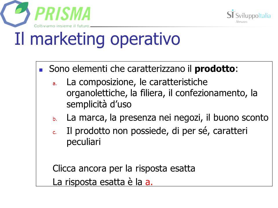 Il marketing operativo Sono elementi che caratterizzano la leva prezzo: a.