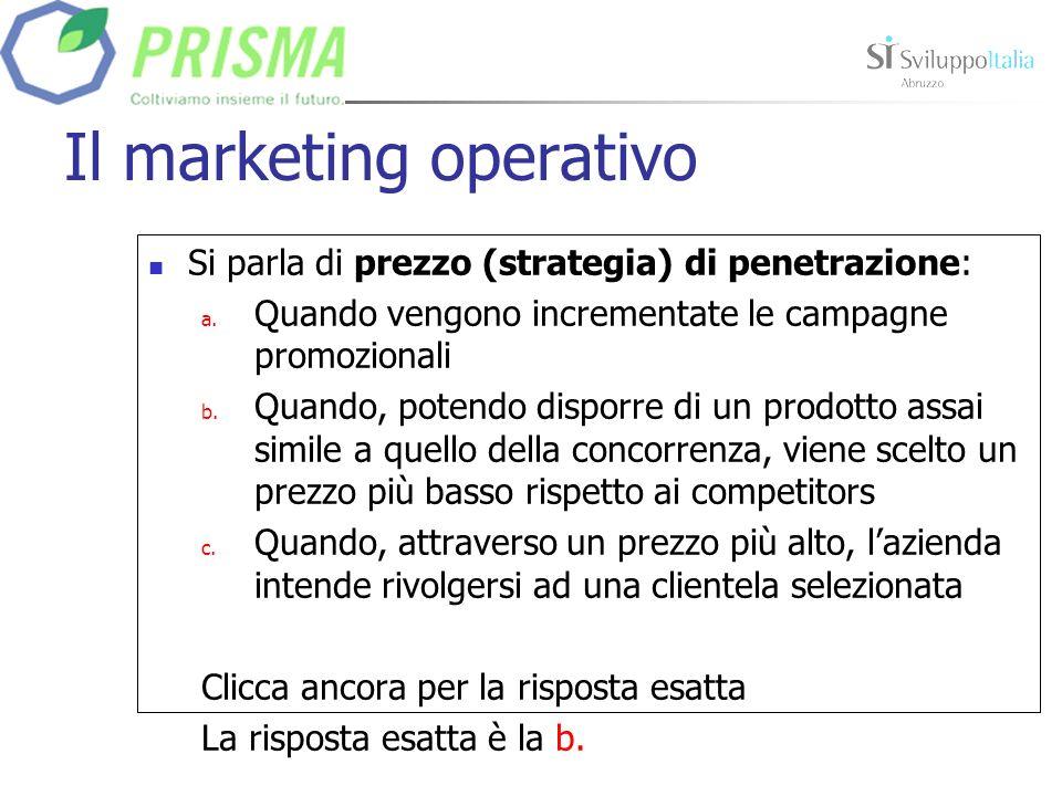 Il marketing operativo Il canale distributivo è: a.