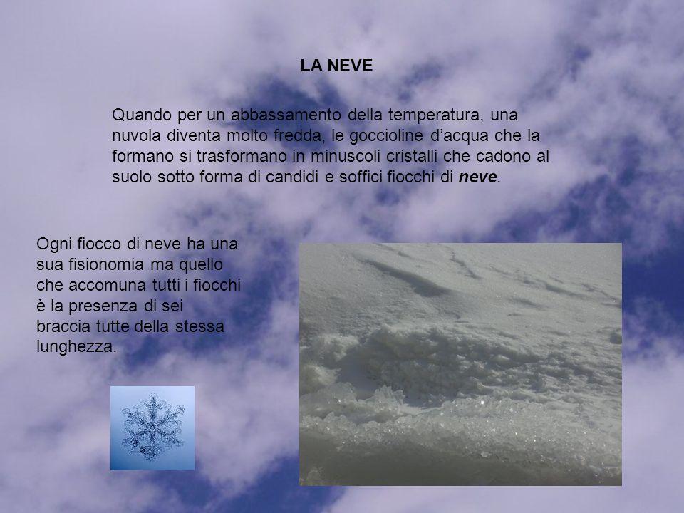LA NEVE Quando per un abbassamento della temperatura, una nuvola diventa molto fredda, le goccioline dacqua che la formano si trasformano in minuscoli cristalli che cadono al suolo sotto forma di candidi e soffici fiocchi di neve.