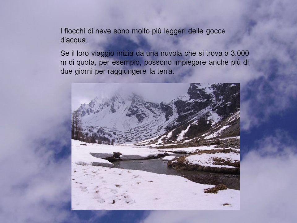 I fiocchi di neve sono molto più leggeri delle gocce dacqua.