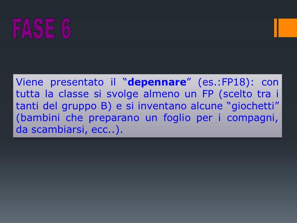 Viene presentato il depennare (es.:FP18): con tutta la classe si svolge almeno un FP (scelto tra i tanti del gruppo B) e si inventano alcune giochetti