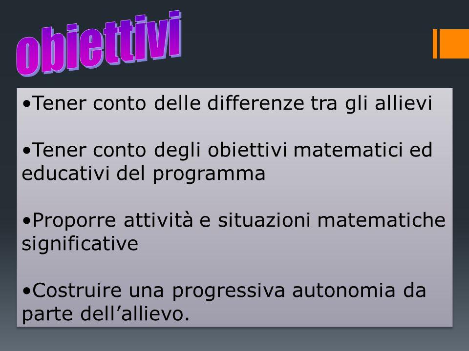 Tener conto delle differenze tra gli allievi Tener conto degli obiettivi matematici ed educativi del programma Proporre attività e situazioni matemati