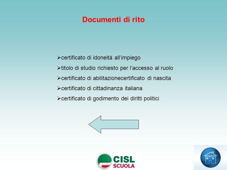 certificato di idoneità allimpiego titolo di studio richiesto per laccesso al ruolo certificato di abilitazionecertificato di nascita certificato di c