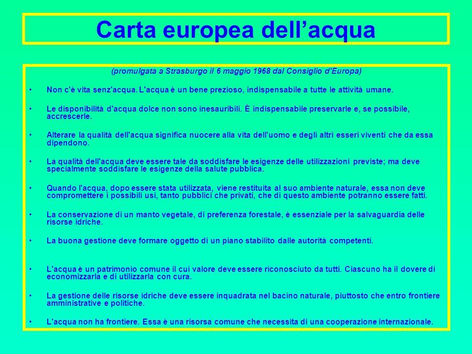 Carta europea dellacqua (promulgata a Strasburgo il 6 maggio 1968 dal Consiglio d Europa) Non c è vita senz acqua.