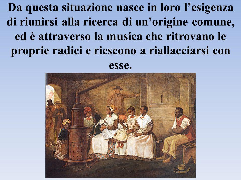 Nascono i work song (canti di lavoro, che quando accompagnano il lavoro nei campi di cotone sono detti plantation songs) e, in ambito religioso, gli spirituals e i gospel.