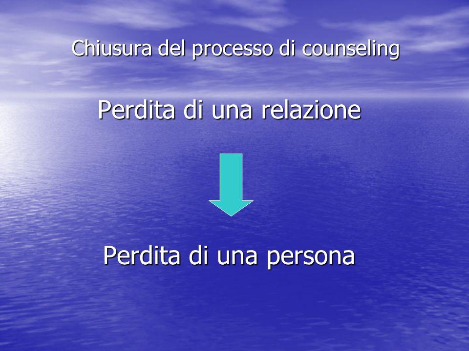 Perdita di una relazione Perdita di una persona Chiusura del processo di counseling