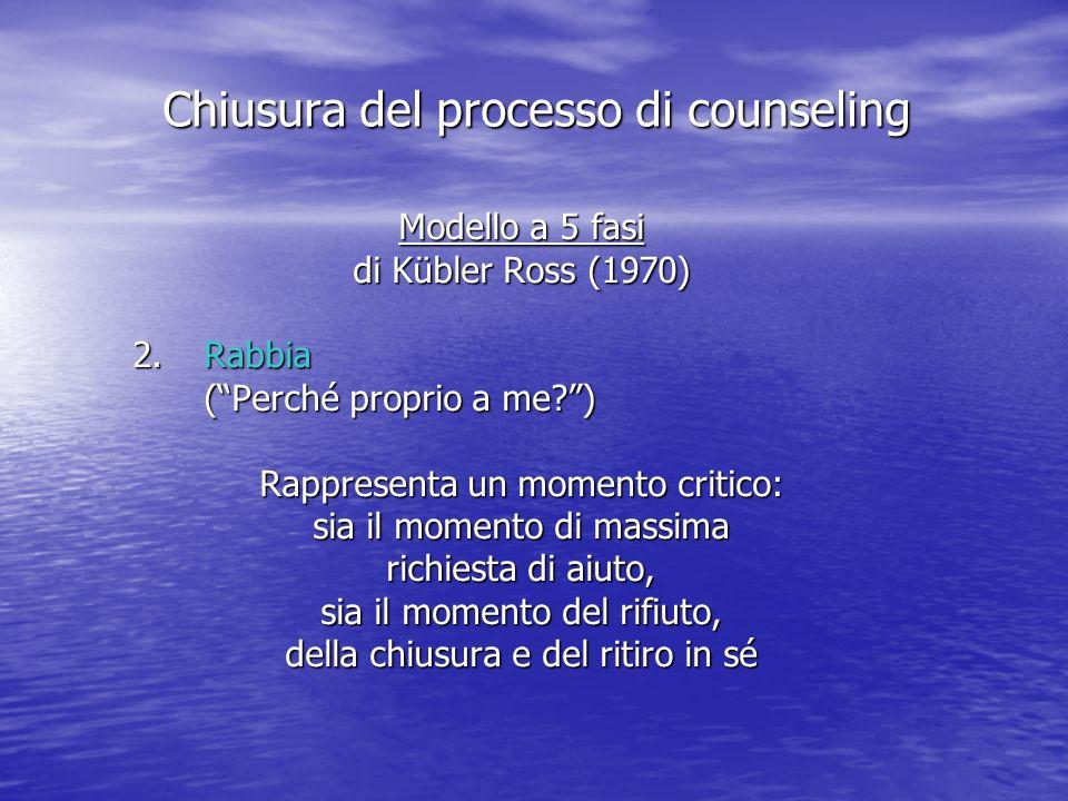 Modello a 5 fasi di Kübler Ross (1970) 2.Rabbia (Perché proprio a me?) Rappresenta un momento critico: sia il momento di massima richiesta di aiuto, sia il momento del rifiuto, della chiusura e del ritiro in sé Chiusura del processo di counseling
