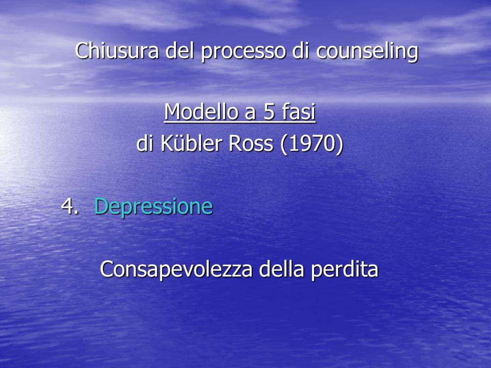 Modello a 5 fasi di Kübler Ross (1970) 4.Depressione Consapevolezza della perdita Chiusura del processo di counseling