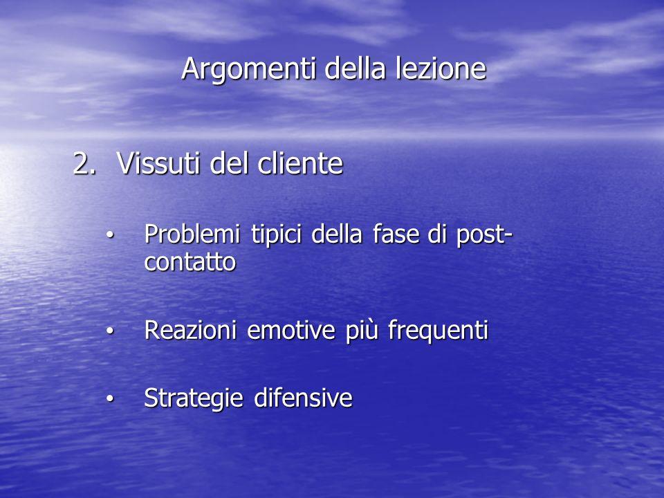 2.Vissuti del cliente Problemi tipici della fase di post- contatto Problemi tipici della fase di post- contatto Reazioni emotive più frequenti Reazioni emotive più frequenti Strategie difensive Strategie difensive Argomenti della lezione