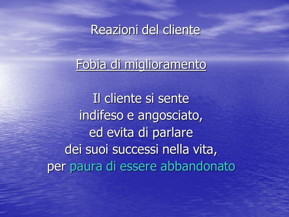 Fobia di miglioramento Il cliente si sente indifeso e angosciato, ed evita di parlare dei suoi successi nella vita, per paura di essere abbandonato Reazioni del cliente