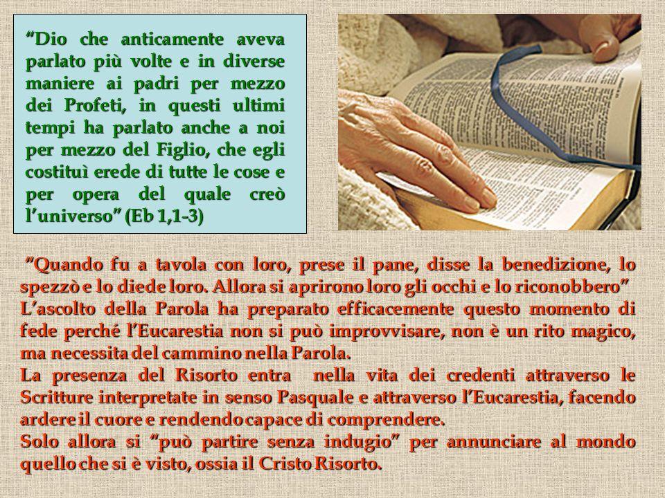 Gesù si mette a tavola e spezza il pane al posto del padrone di casa: Prese il pane e, spezzato, lo diede a loro.