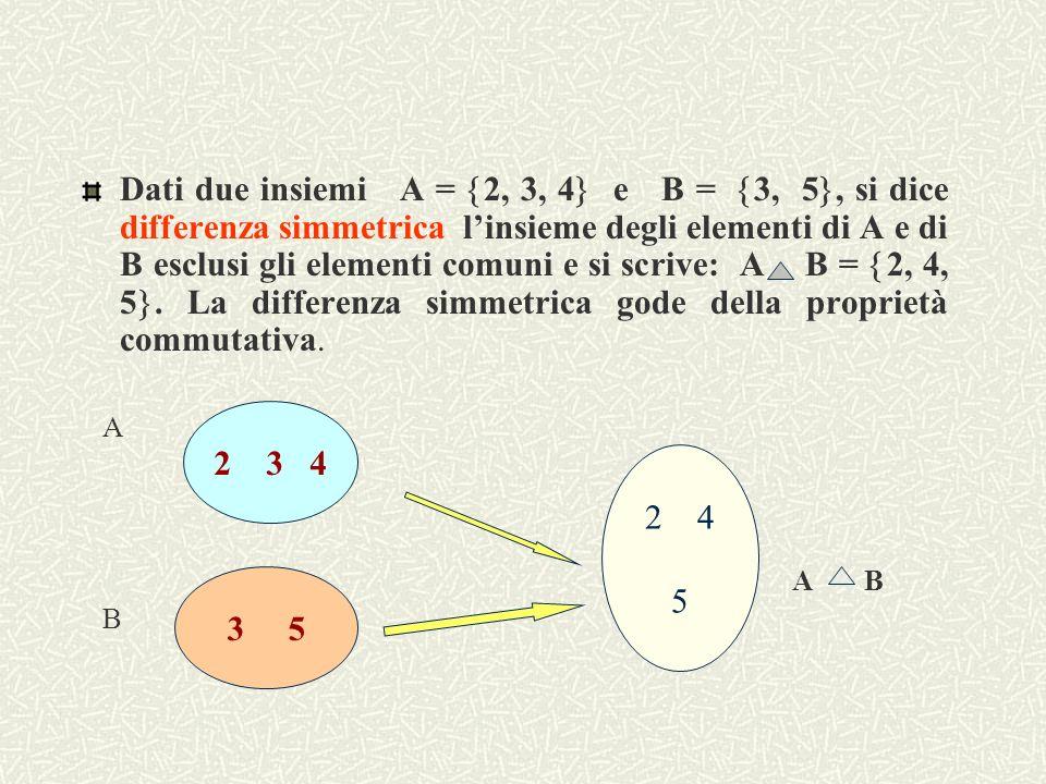 Dati due insiemi A = 2, 3, 4 e B = 3, 5, si dice insieme differenza linsieme degli elementi di A che non appartengono a B e si scrive A – B = 2, 4 ; invertendo gli insiemi si ottiene B – A = 5, da ciò si può dedurre che la differenza NON gode della proprietà commutativa, perché i risultati ottenuti sono diversi.