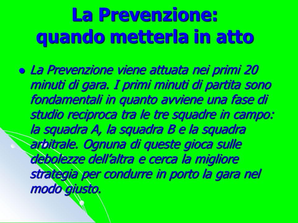La Prevenzione: quando metterla in atto La Prevenzione viene attuata nei primi 20 minuti di gara.