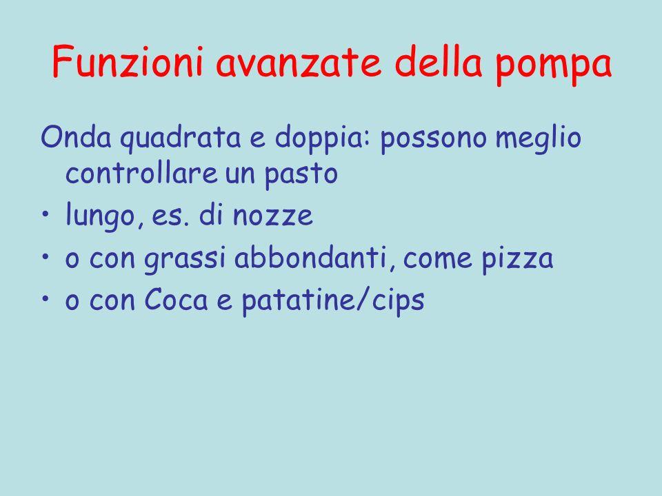 Funzioni avanzate della pompa Onda quadrata e doppia: possono meglio controllare un pasto lungo, es. di nozze o con grassi abbondanti, come pizza o co