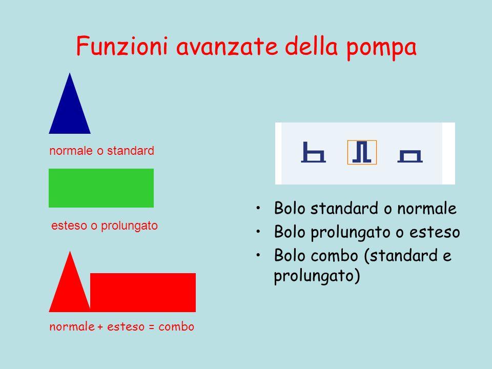 Funzioni avanzate della pompa Bolo standard o normale Bolo prolungato o esteso Bolo combo (standard e prolungato) normale + esteso = combo normale o s