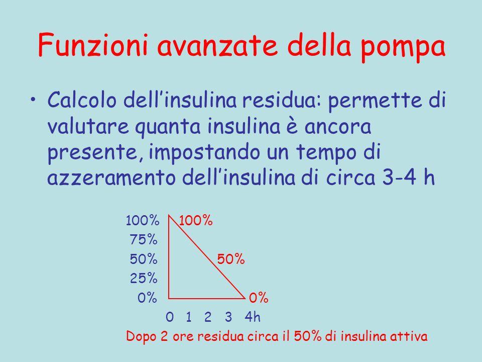 Funzioni avanzate della pompa Calcolo dellinsulina residua: permette di valutare quanta insulina è ancora presente, impostando un tempo di azzeramento