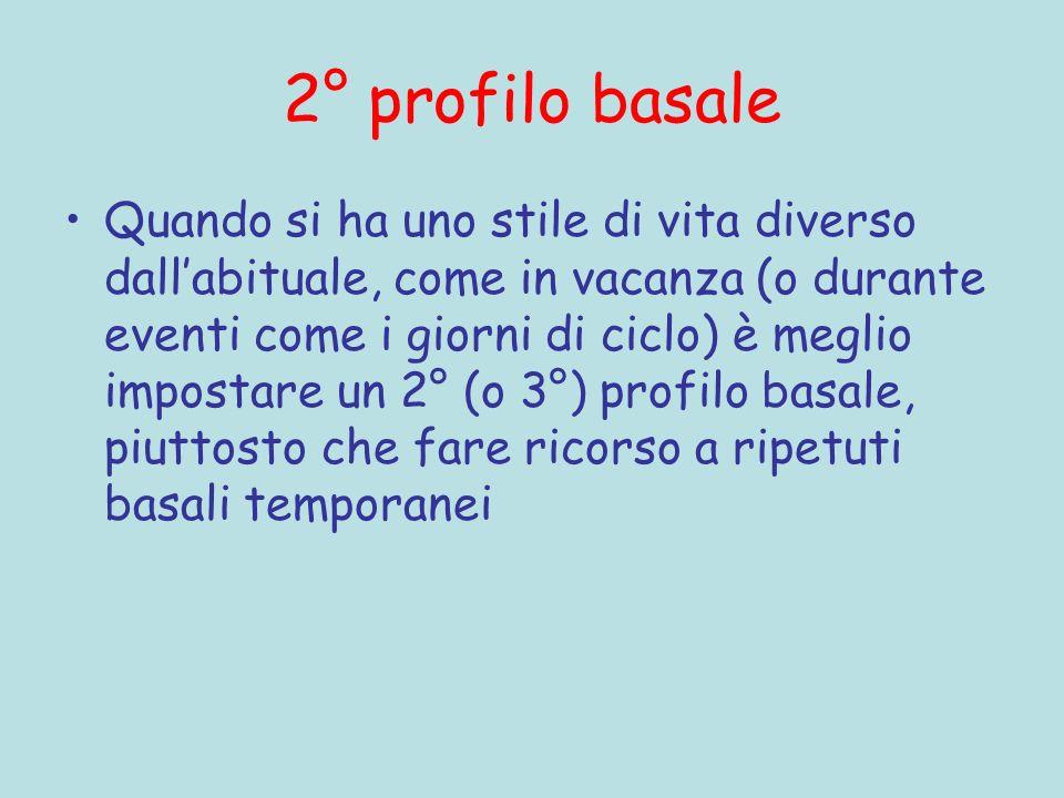 2° profilo basale Quando si ha uno stile di vita diverso dallabituale, come in vacanza (o durante eventi come i giorni di ciclo) è meglio impostare un