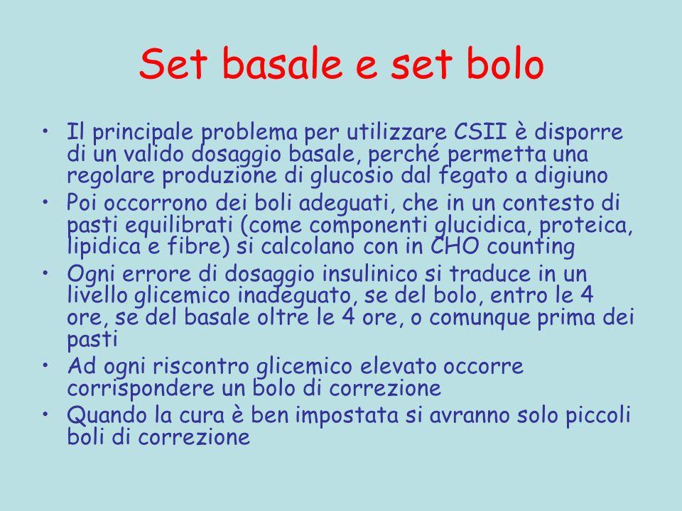 Set basale e set bolo Il principale problema per utilizzare CSII è disporre di un valido dosaggio basale, perché permetta una regolare produzione di g