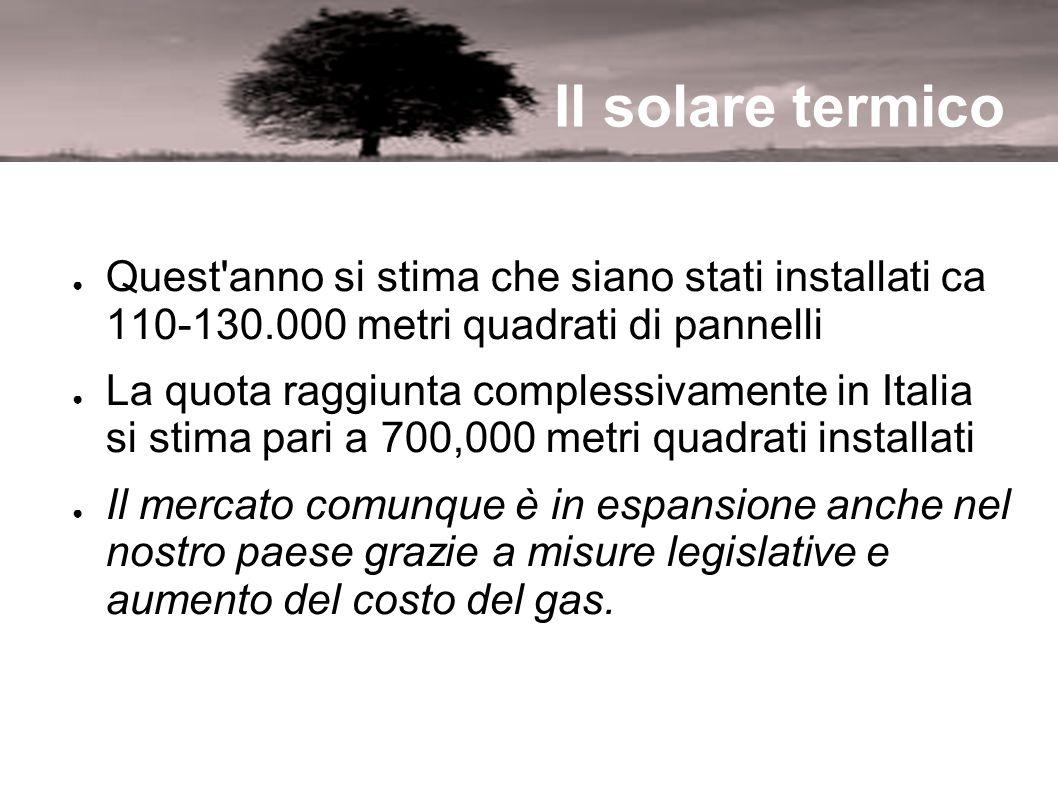 Il solare termico Quest'anno si stima che siano stati installati ca 110-130.000 metri quadrati di pannelli La quota raggiunta complessivamente in Ital