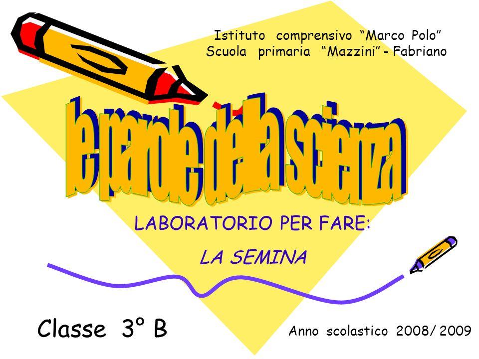 Istituto comprensivo Marco Polo Scuola primaria Mazzini - Fabriano Anno scolastico 2008/ 2009 Classe 3° B LABORATORIO PER FARE: LA SEMINA