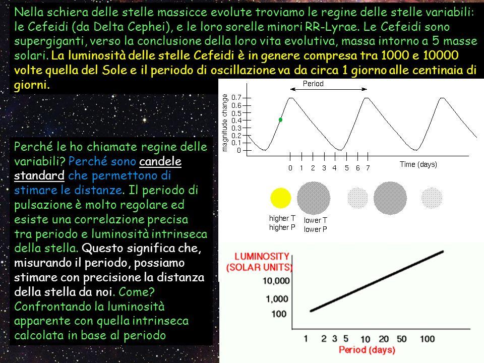 Nella schiera delle stelle massicce evolute troviamo le regine delle stelle variabili: le Cefeidi (da Delta Cephei), e le loro sorelle minori RR-Lyrae