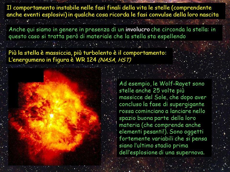 Il comportamento instabile nelle fasi finali della vita le stelle (comprendente anche eventi esplosivi) in qualche cosa ricorda le fasi convulse della