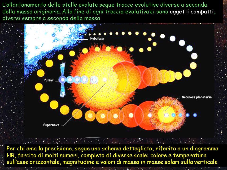 Lallontanamento delle stelle evolute segue tracce evolutive diverse a seconda della massa originaria. Alla fine di ogni traccia evolutiva ci sono ogge