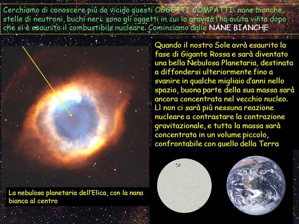 Cerchiamo di conoscere più da vicino questi OGGETTI COMPATTI: nane bianche, stelle di neutroni, buchi neri: sono gli oggetti in cui la gravità lha avu