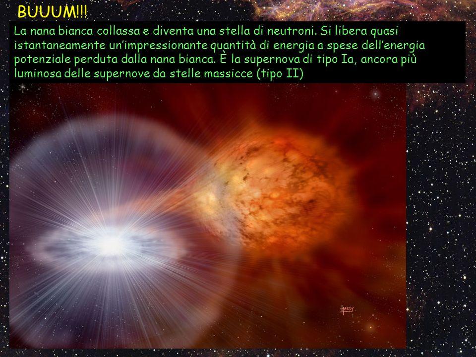 BUUUM!!! La nana bianca collassa e diventa una stella di neutroni. Si libera quasi istantaneamente unimpressionante quantità di energia a spese dellen