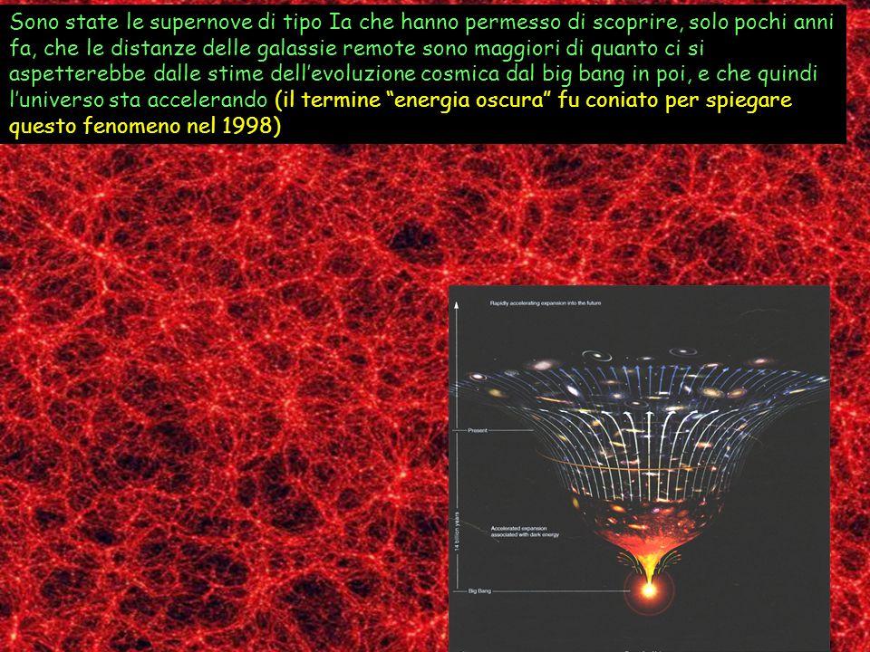 Sono state le supernove di tipo Ia che hanno permesso di scoprire, solo pochi anni fa, che le distanze delle galassie remote sono maggiori di quanto c